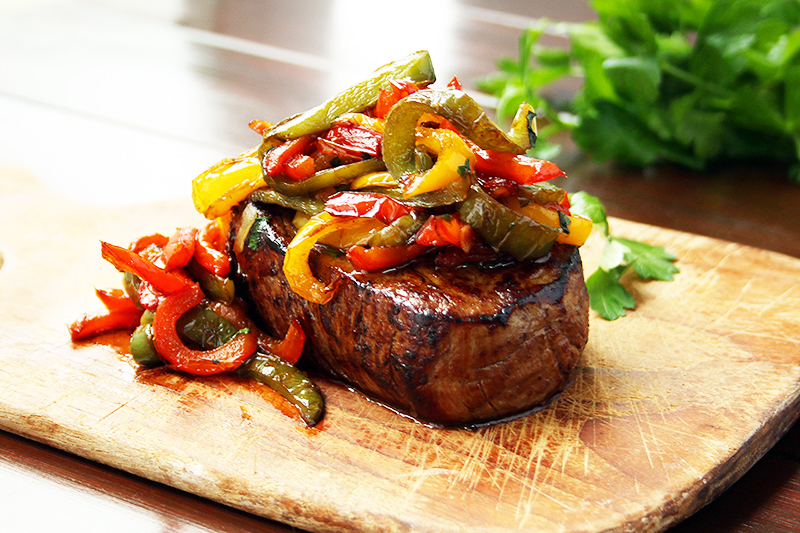 Steak with Caramelised Peppers